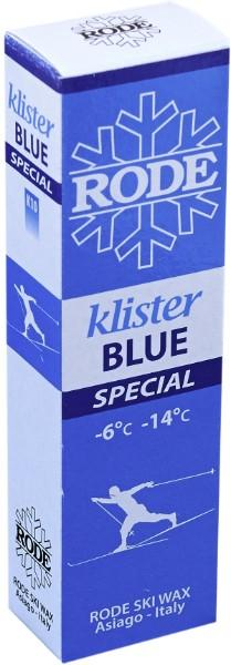 A blue klister for cold icy snow or used as a base klister