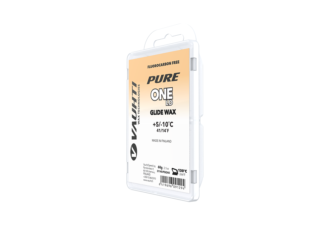 From the Vauhti Fluoro-free PURE line. PURE-LINE ONE LD PARAFFIN An entry-level fluoro-free paraffin for changing conditions.