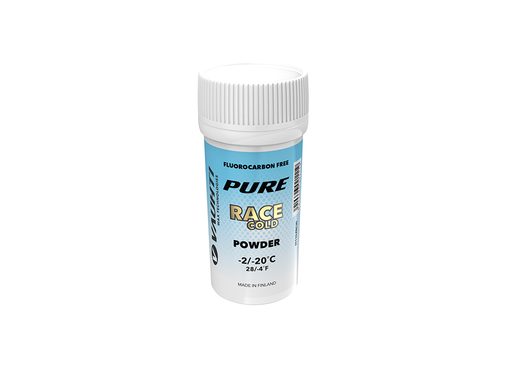 From the Vauhti Fluoro-free PURE line. PURE-LINE RACE COLD POWDER A high-performance fluoro-free racing powder for cold conditions.