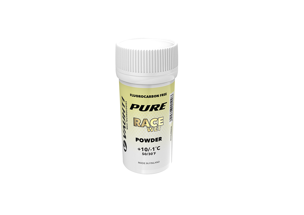 From the Vauhti Fluoro-free PURE line. PURE-LINE RACE WET POWDER A high-performance fluoro-free racing powder for warm conditions.