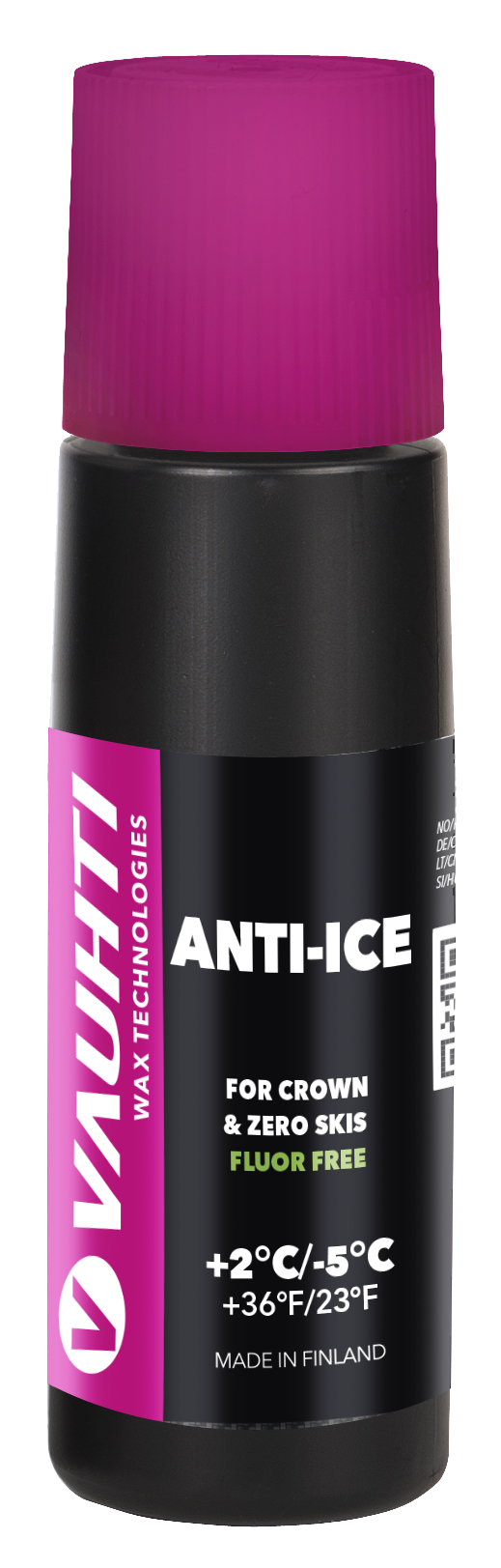 Anti-ice agent for crown & zero skis. Use on new snow close to zero degrees to prevent icing.