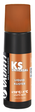 A liquid universal klister for damp to wet snow.