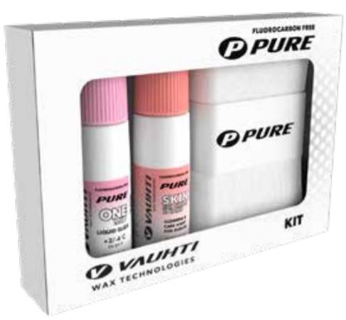 From the Vauhti Fluoro-free PURE line. PURE-LINE KIT: SKIN SKI & GLIDE A fluoro-free skin ski waxing kit.