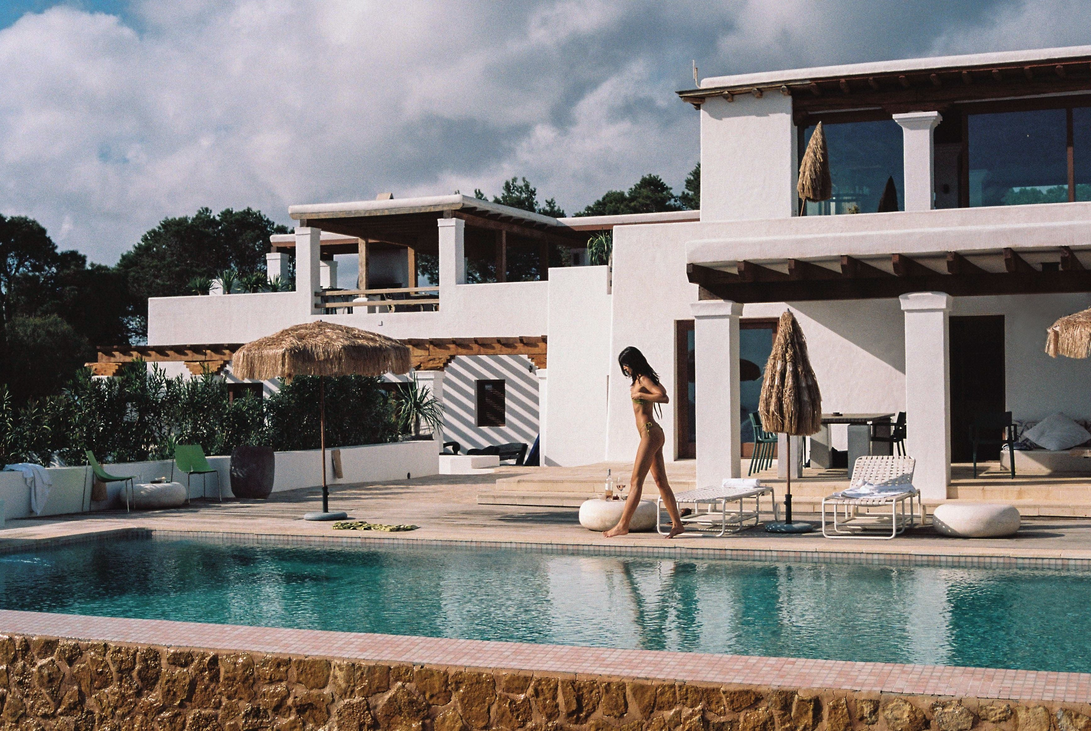Sommer Swim campaign by the pool at secluded Harissa Villa in Ibiza