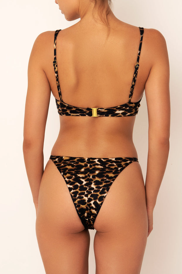 leopard print bikini top on body back view