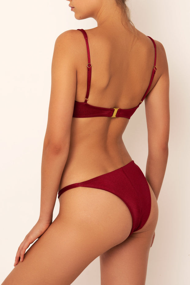 red bikini bottoms on body side view