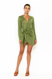 Sommer Swim model facing forward and wearing Madeira Wrap dress in Chartreuse