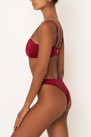 high waisted bikini bottoms in red on body side view