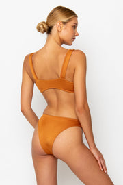 Sommer Swim model facing backwards and wearing a Maya high leg bikini bottom in Papagayo