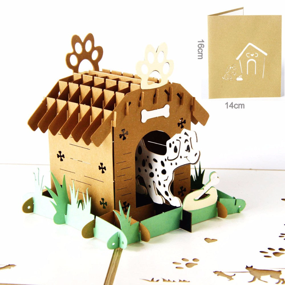 Cute 3d pop up card paper laser cutting custom greeting card spots cute 3d pop up card paper laser cutting custom greeting card spots dog house lover happy birthday thank you card dalmatian m4hsunfo