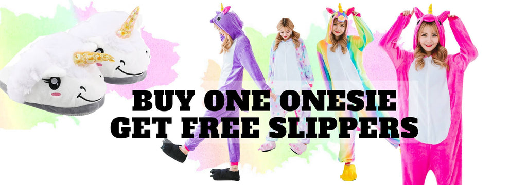 unicorn onesie buy one get slippers free