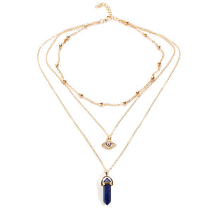 Multilayer Opal Stone Evil Eye Protection Necklace - Oh My Gawdess
