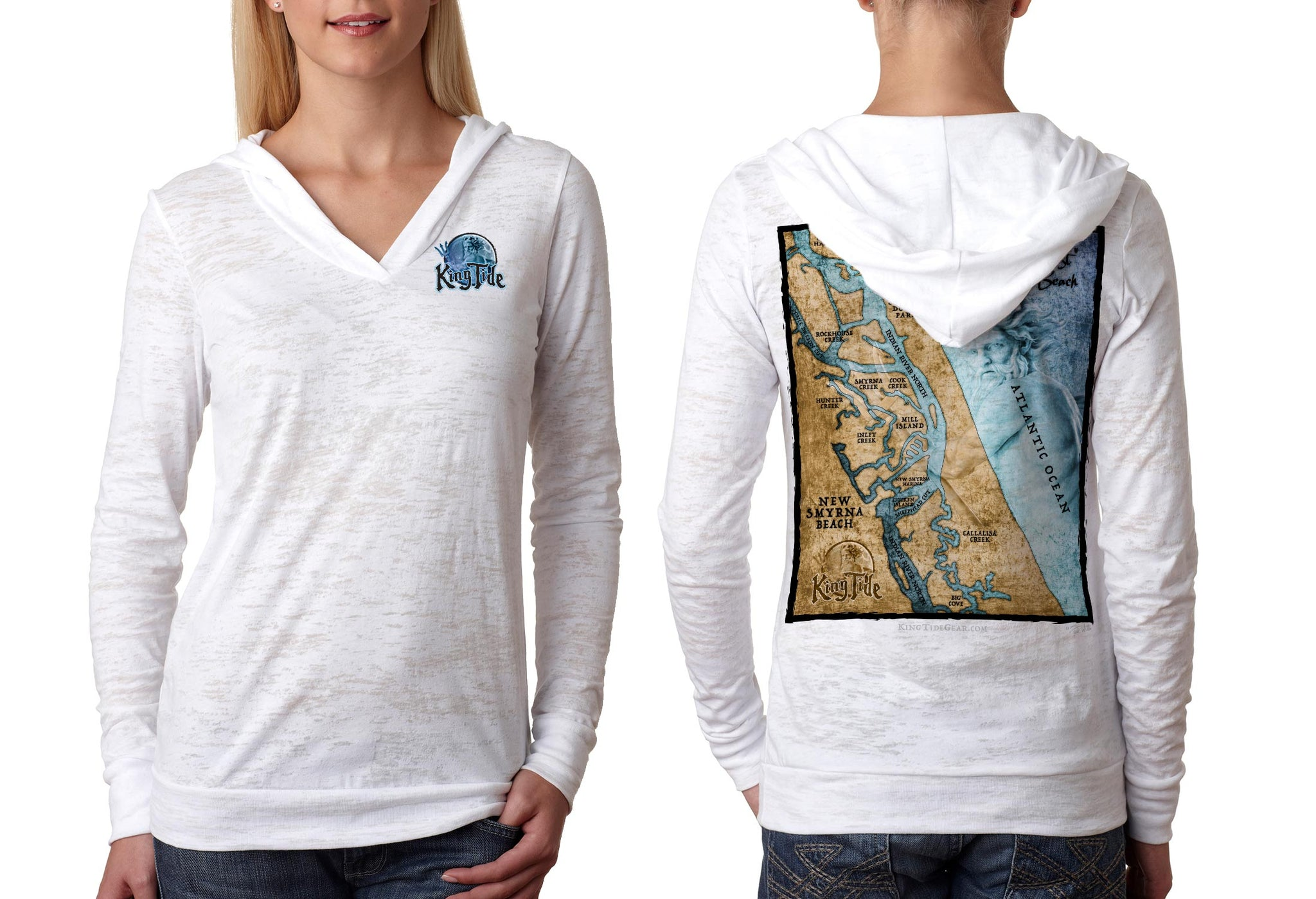 King Tide New Smyrna Florida Burnout Hoodie