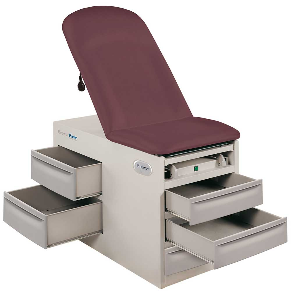 brewer basic exam table open drawers