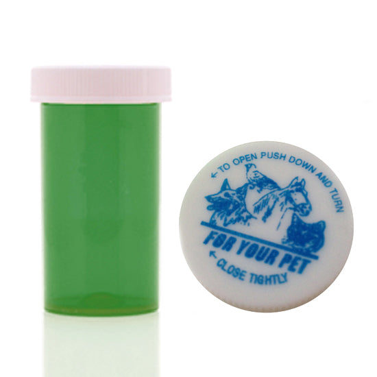 green veterinary prescription vials