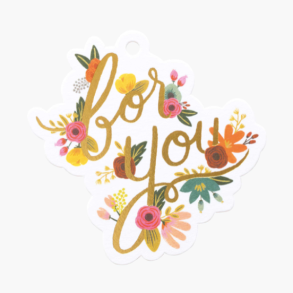 """For You"" Die Cut Floral Gift Tags"
