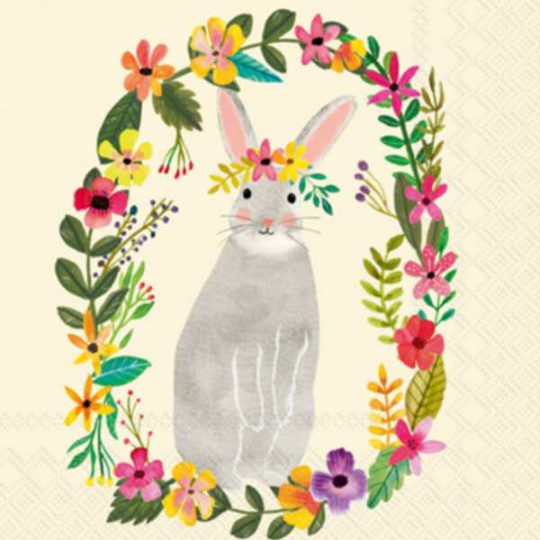 Floral Bunny Luncheon Napkin