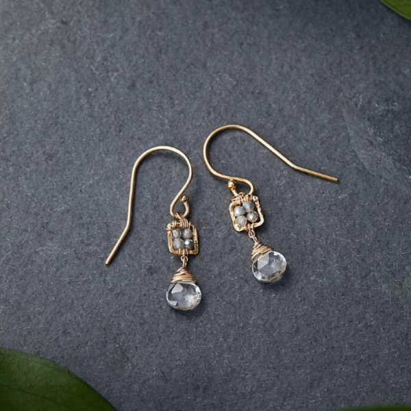 Tiny Labradorite Box Earring