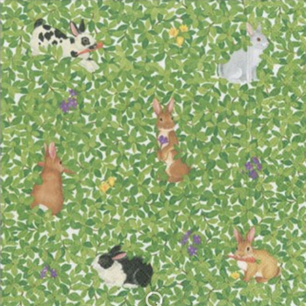 Bunnies & Boxwood Luncheon Napkins