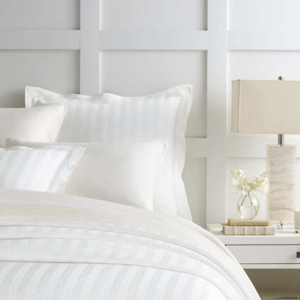 Herringbone White Matelasse Bedding