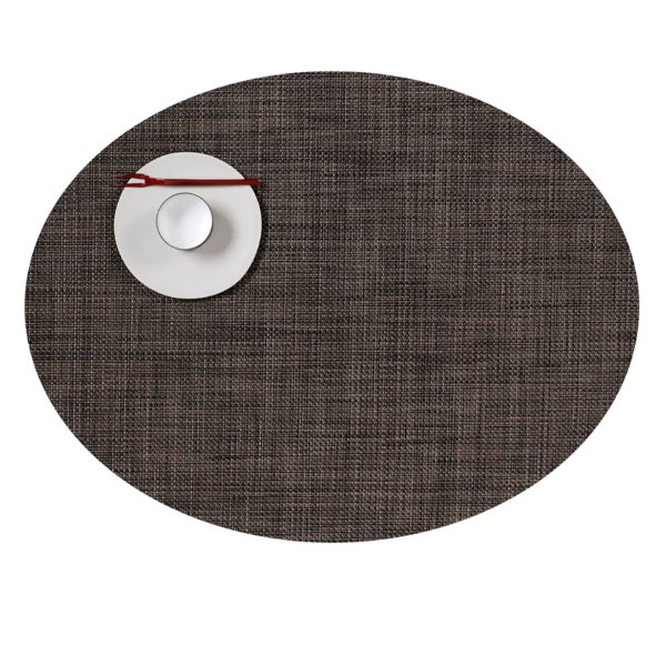 Oval Placemats: Mini Basketweave: Walnut