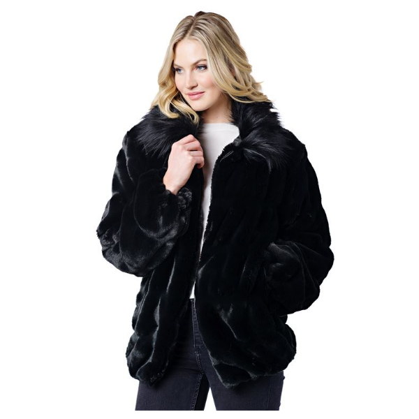 Couture Onyx Mink Faux Fur Bomber Jacket