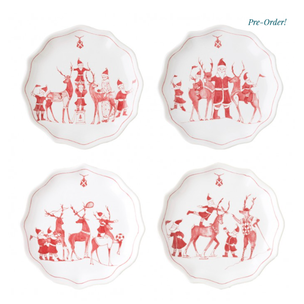 Country Estate Reindeer Games Set/4 Tidbit Plates