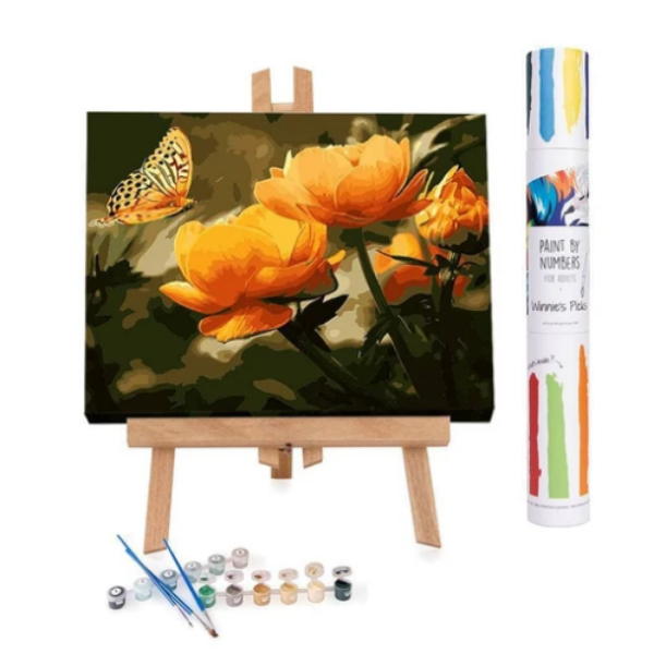 Peach Butterfly in the Summer: Paint By Number