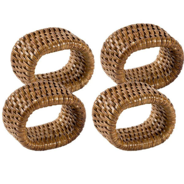 Rattan Napkin Rings- Dark Natural
