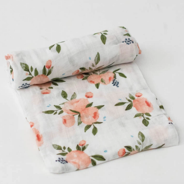 Watercolor Roses Muslin Swaddle Blanket