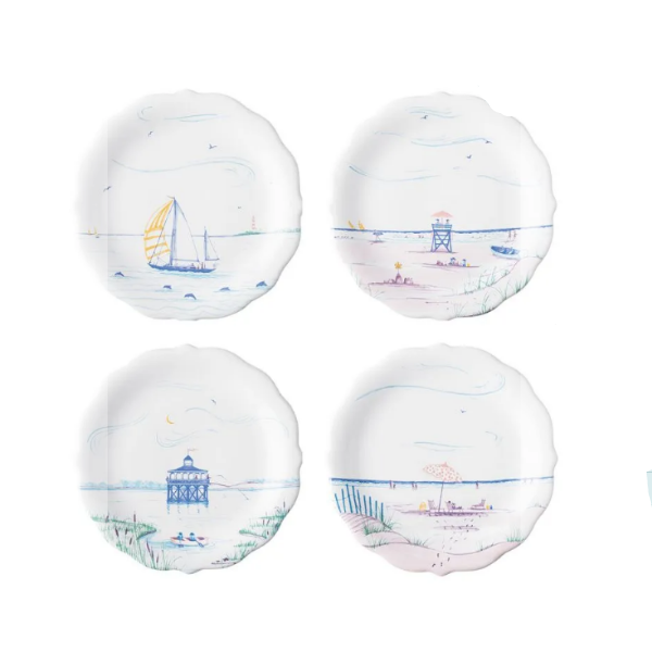Country Estate Seaside Party Plates / Set of 4
