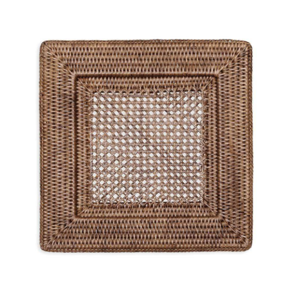 Rattan Square Charger - Dark Natural