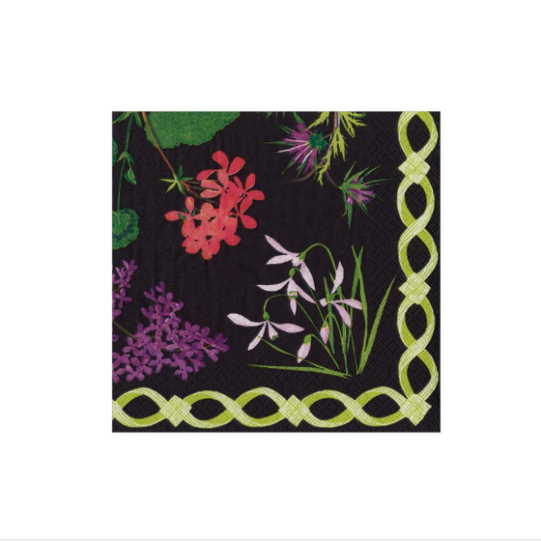 Mary Delany Flower Mosaics Paper Cocktail Napkins in Black