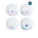 Country Estate Seaside Melamine Salad/Dessert Plates: Set of 4