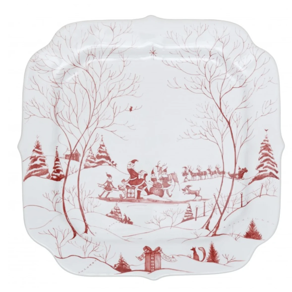 Country Estate Winter Frolic Ruby Santa's Cookie Tray