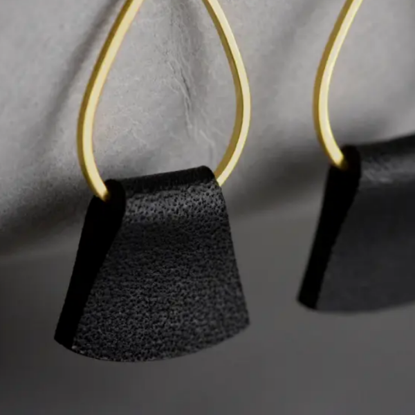 Folded Leather Earrings - Black Leather