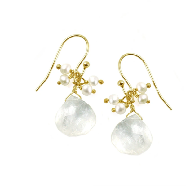 Moonstone with Pearl Cluster Earrings