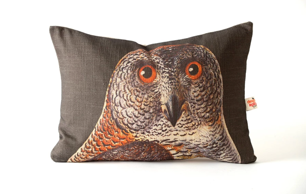 Owl on Black Background Pillow