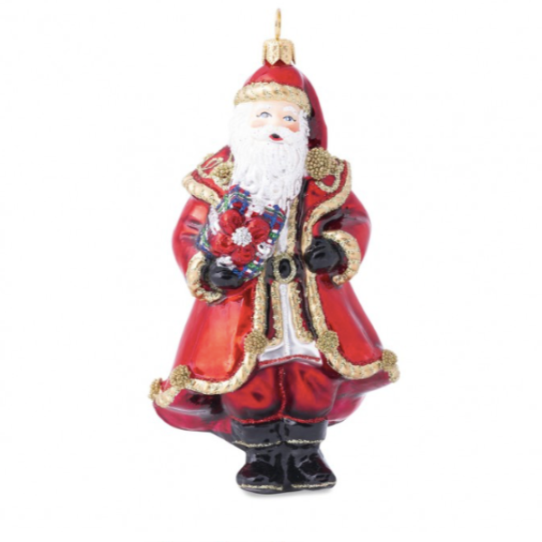 Berry & Thread Red Santa Glass Ornament