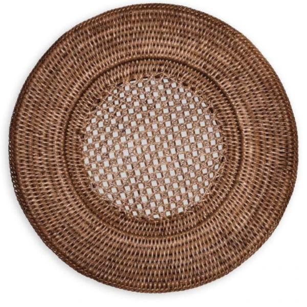 Rattan Round Charger - Dark Natural