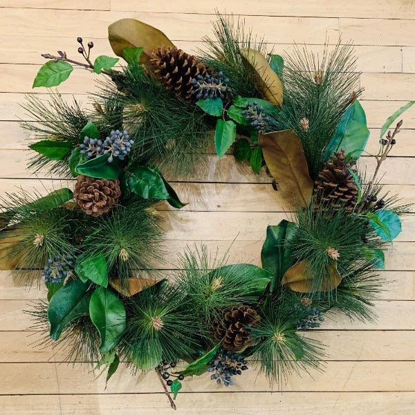 Wreath w/ Cones, Leaves, Blue Berries