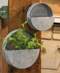 Galvanzied wall planter
