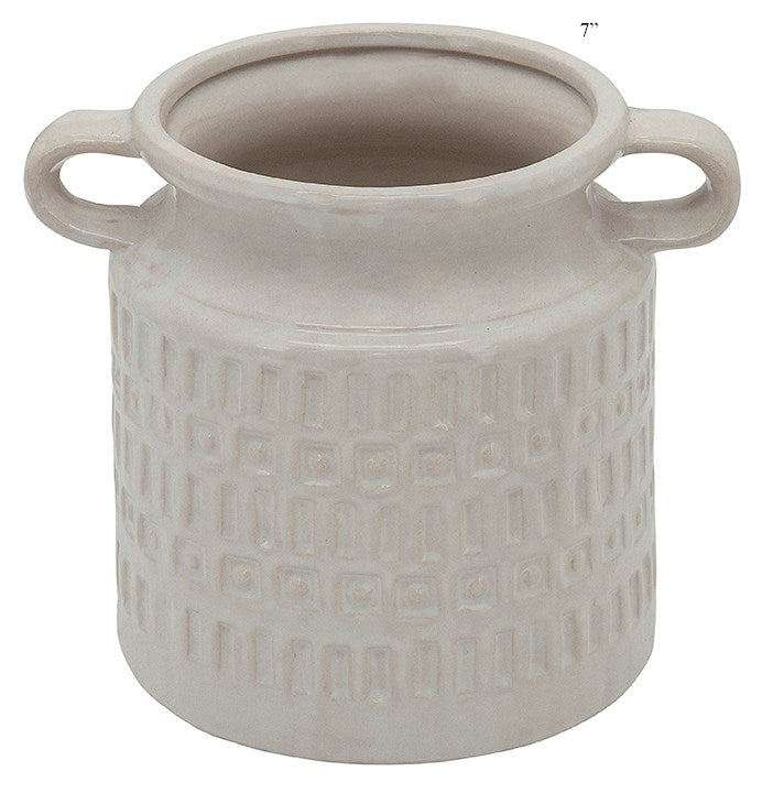 White jar with handles