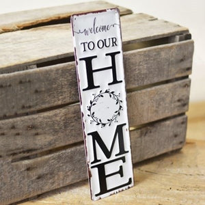 TIN HOME SIGN VERTICAL