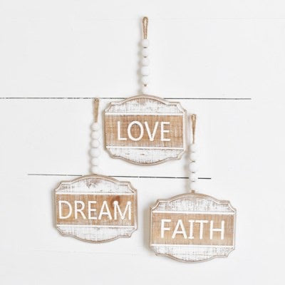 LOVE, DREAM, FAITH BEAD SIGN