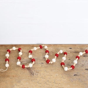 "72"" WOOL & WOOD IVORY & RED POM POM GARLAND"