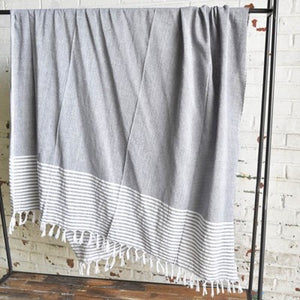 CHARCOAL THROW WITH STRIPE