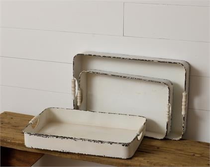 Distressed White Metal Trays
