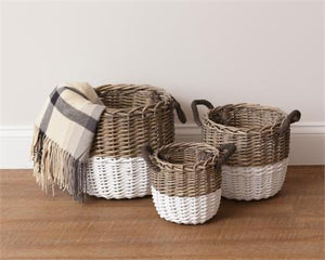 Two tone wicker baskets