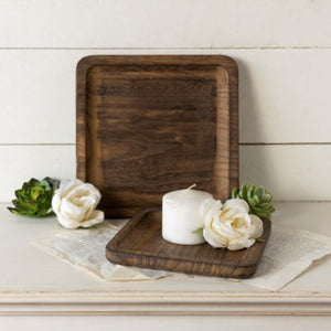 Square wood tray